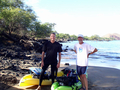 Jim and I with the kayaks loaded and ready to go at Makena Landing